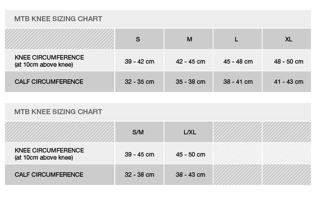 Mtb Knee Size Chart